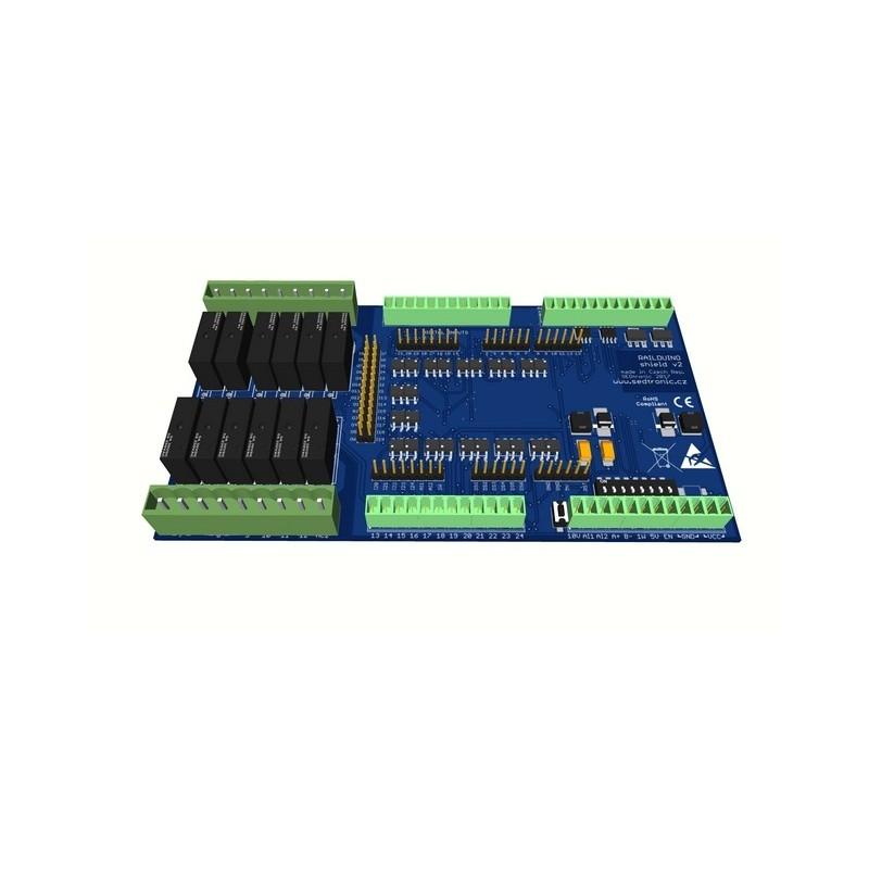 Railduino 2 0 shield - extension IO module for Arduino MEGA 2560 Relays  type 12x classic relays 7A